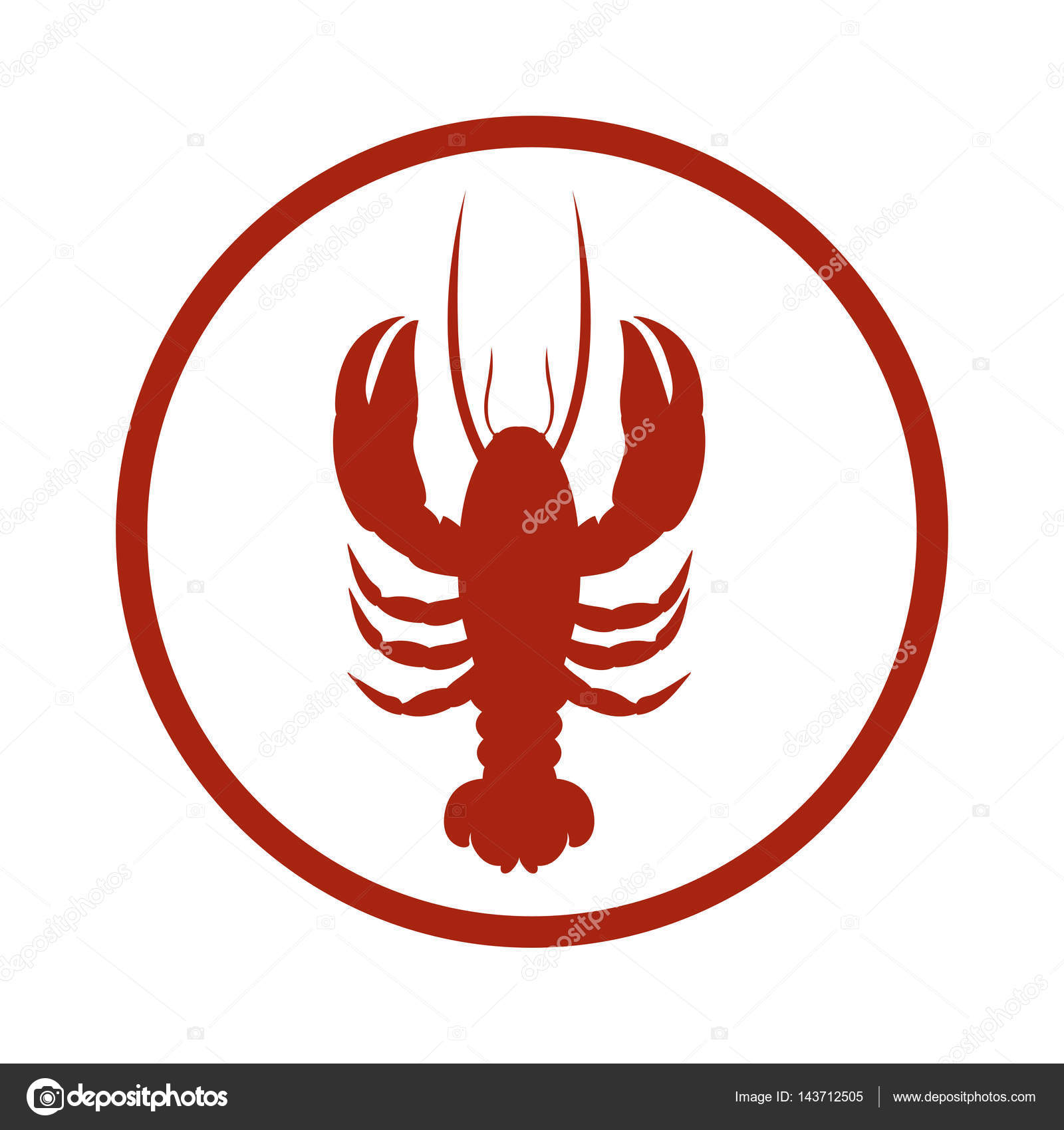Red Circular Border With Silhouette Lobster Stock Vector