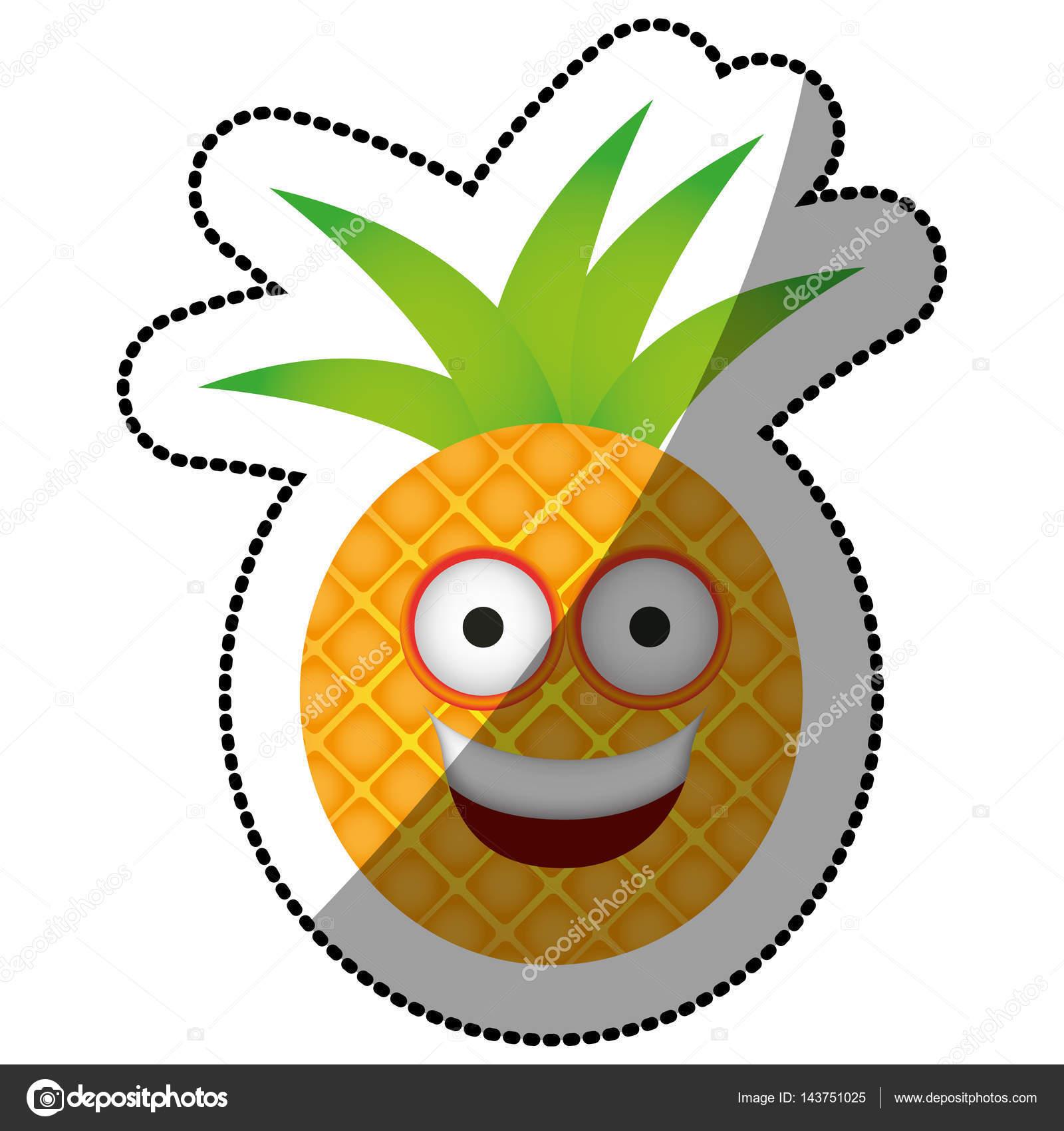 Icona Felice Di Colore Kawaii Frutta Ananas Vettoriali Stock