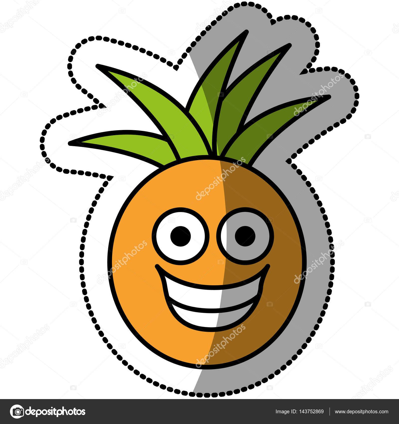 Icona Felice Di Kawaii Colorato Frutta Ananas Vettoriali Stock