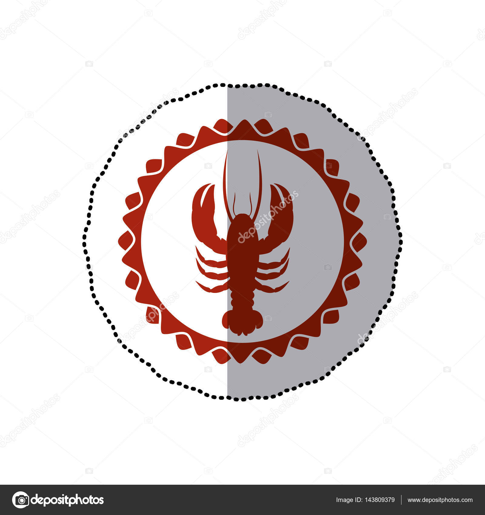 Sticker Red Stamp Border With Silhouette Lobster Stock Vector