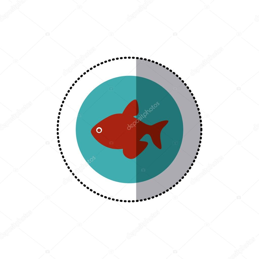 sticker old blue circular border with fish