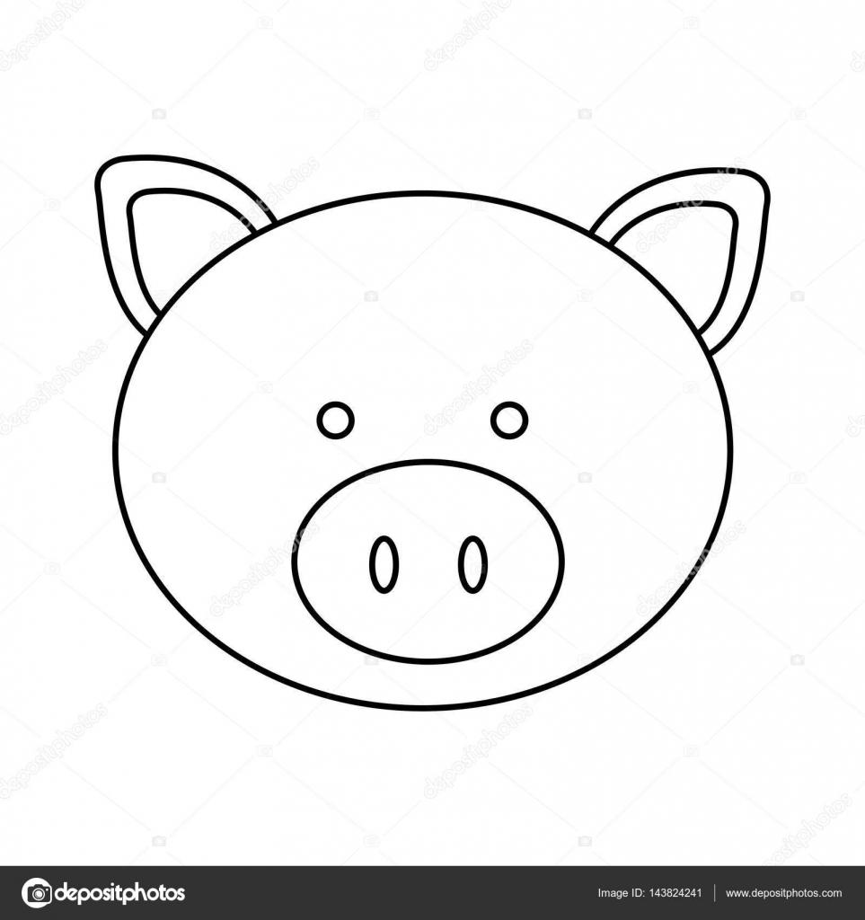icono de cerdo cara figura — Archivo Imágenes Vectoriales ...