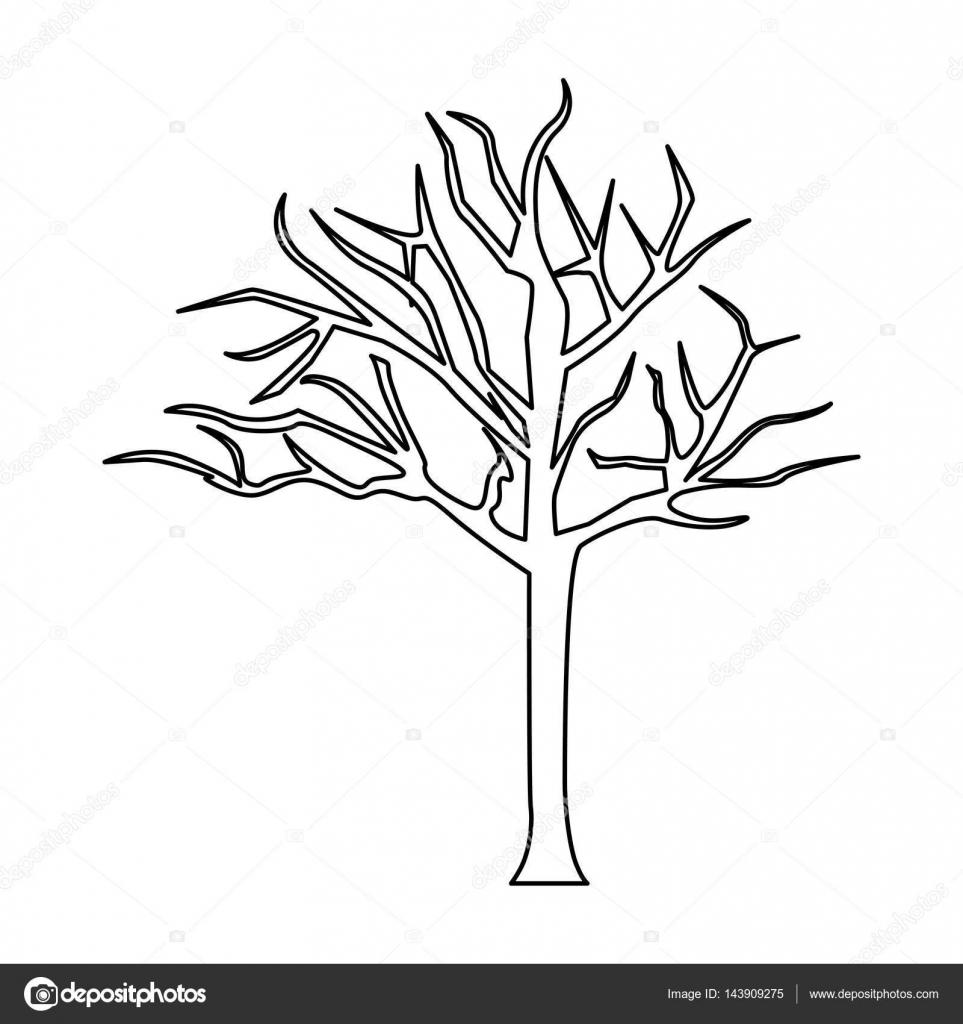 silhouet boom met takken zonder bladeren stockvector