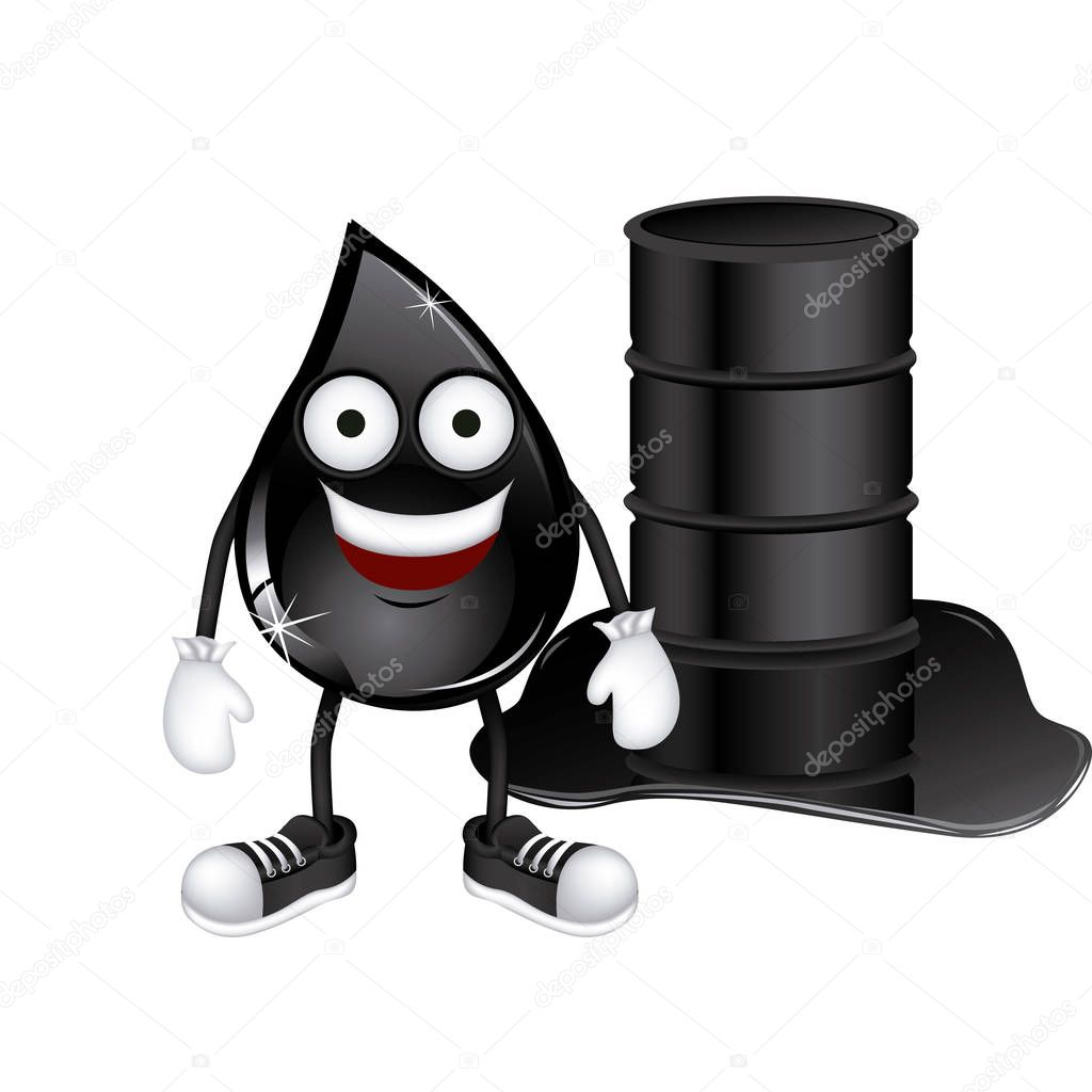 animated drop of petroleum and barrel oil spilled