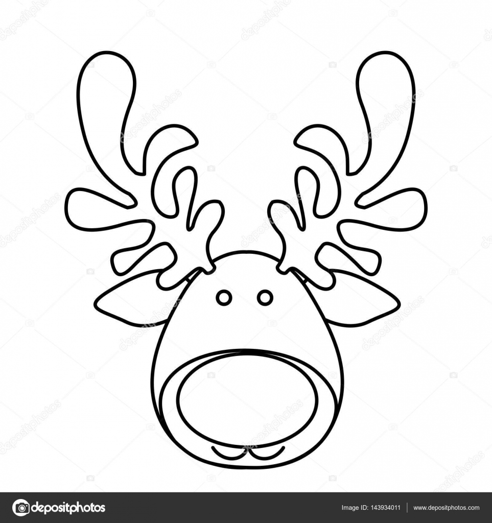 silhouette cartoon funny face reindeer animal u2014 stock vector