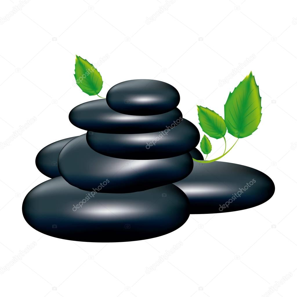 spa volcanic rocks with leaves icon
