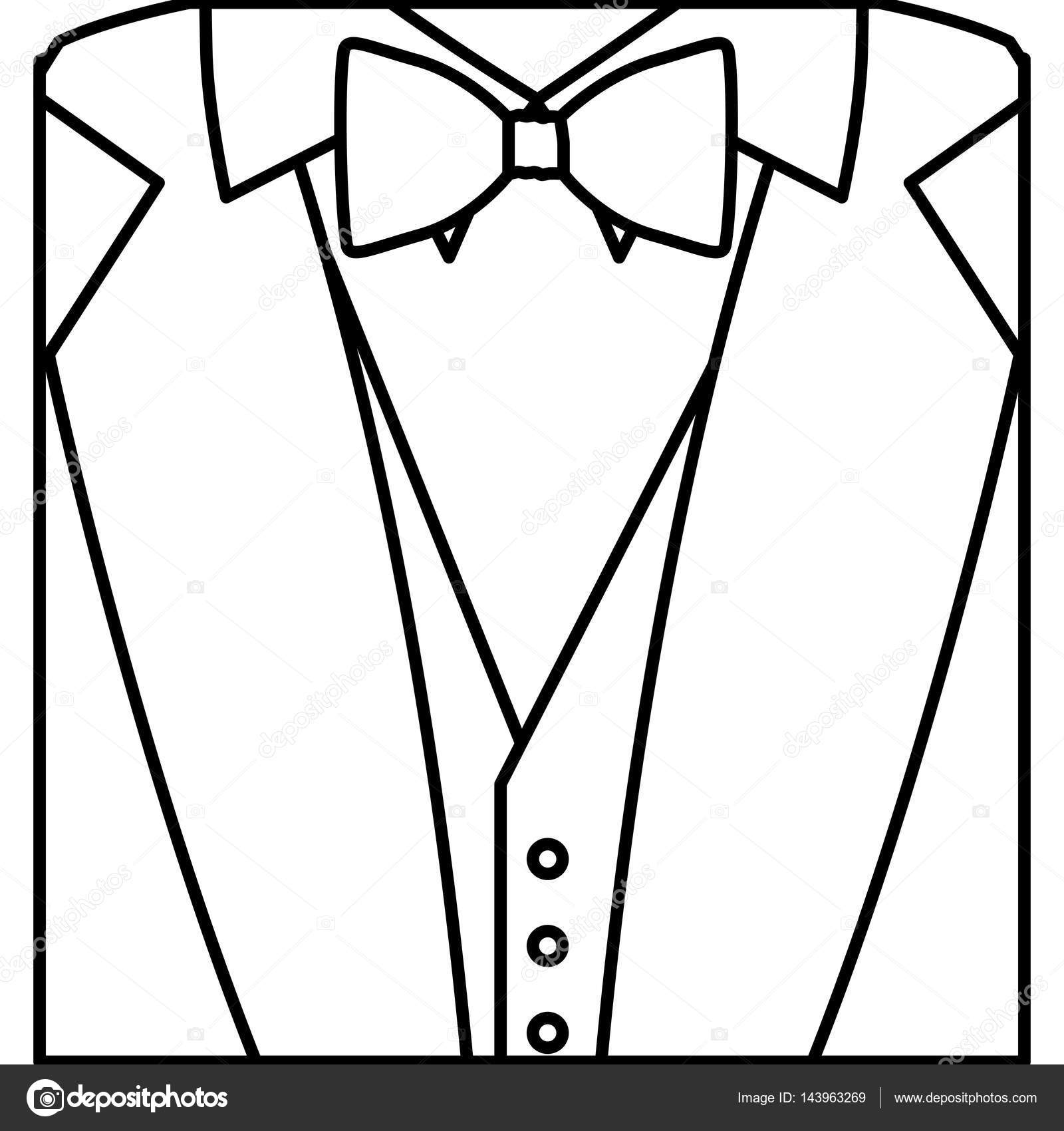 Figure Sticker Suit With Bow Tie Icon Stock Vector