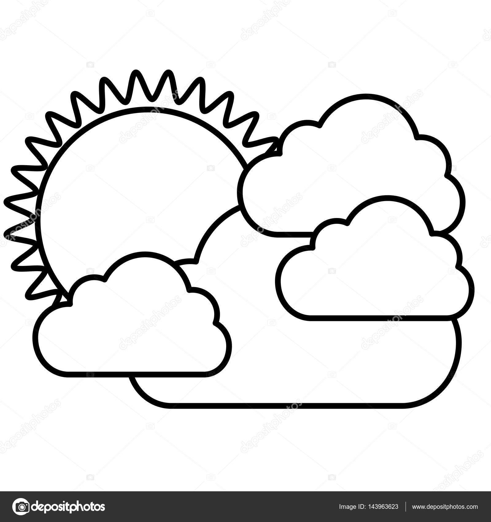 Nube Con Sol Para Colorear Figura Etiqueta Sol Con Icono