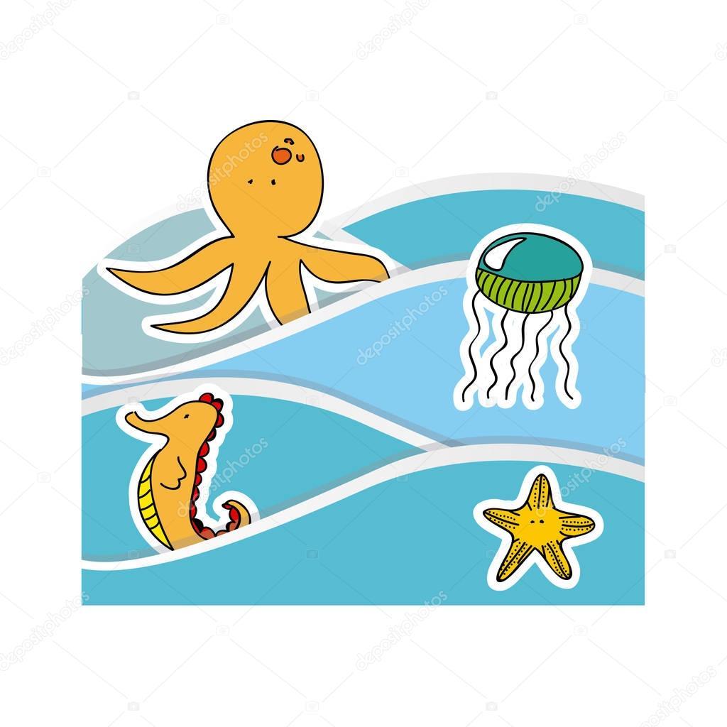 aquatic animals in the sea icon