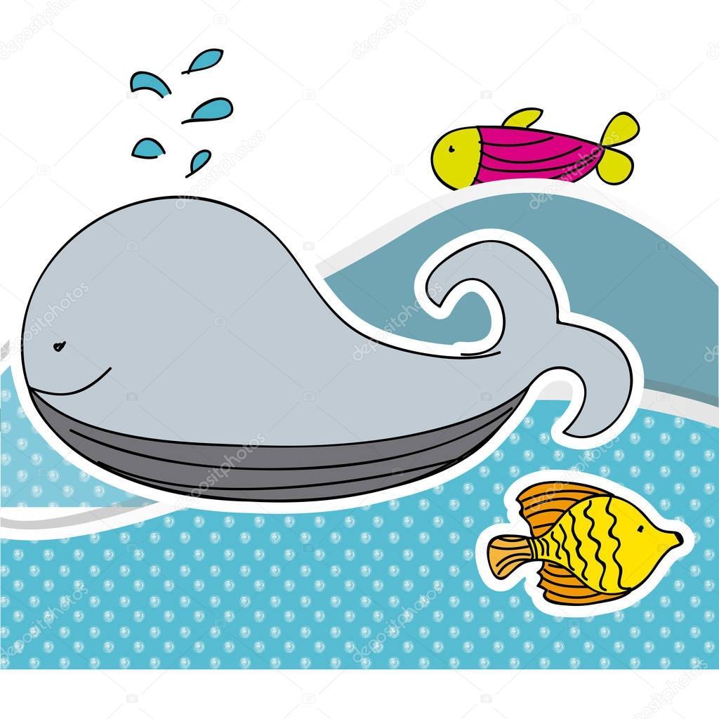 color aquatic animals in the sea icon