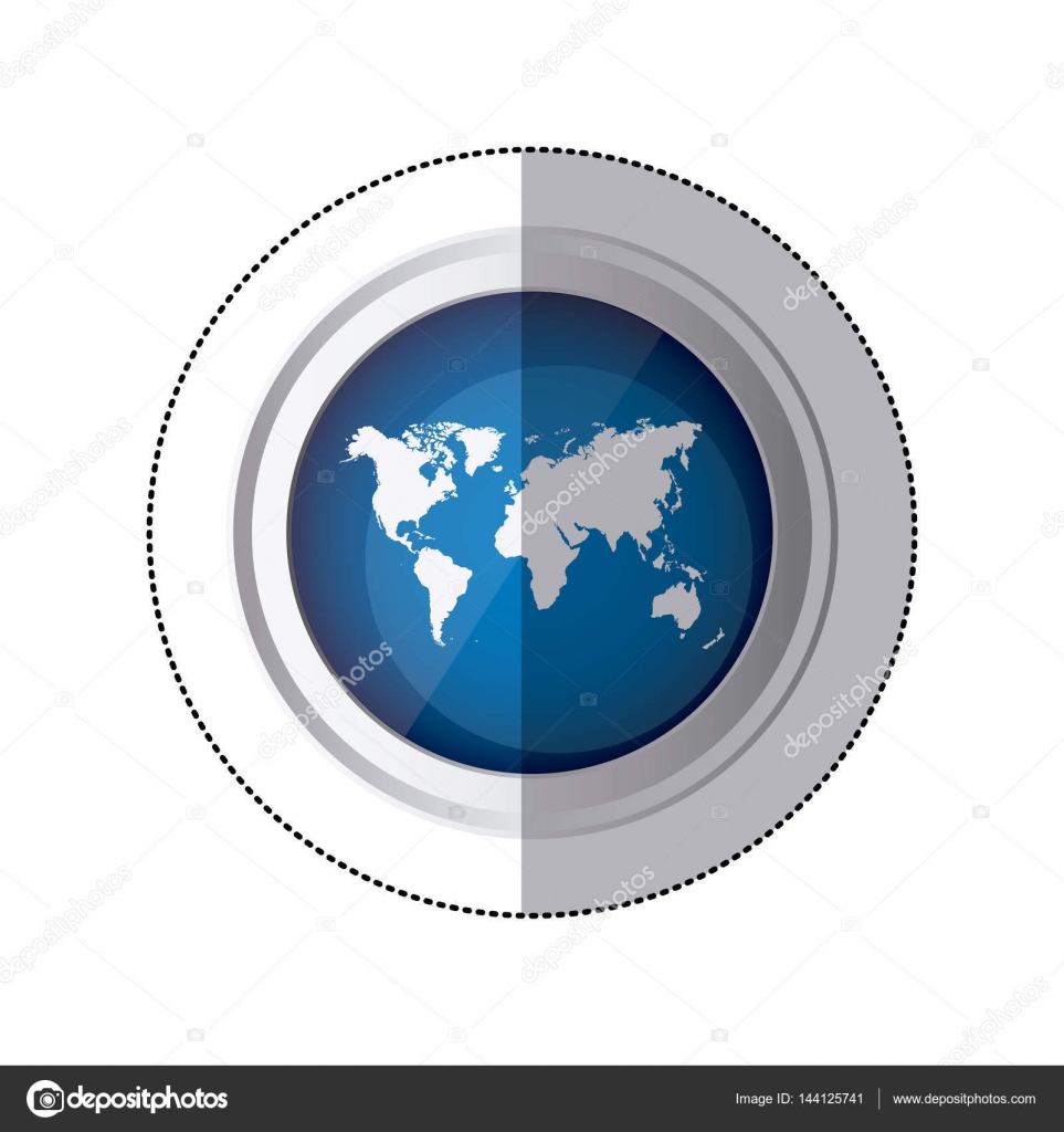 Sticker blue circular button with silhouette world map stock sticker blue circular button with silhouette world map vector illustration vector by grgroupstock gumiabroncs Images