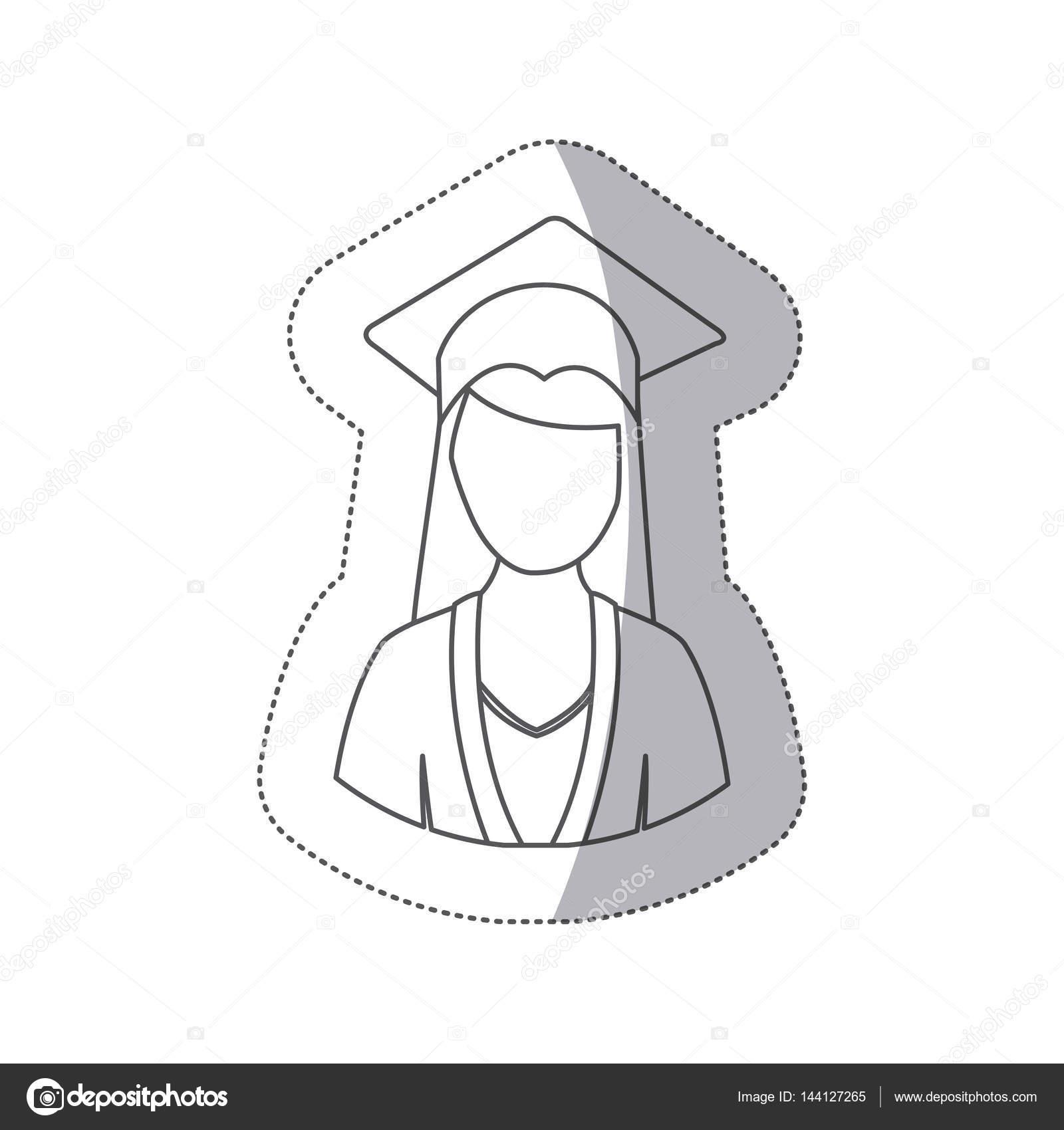a8aed4db2 Mujer de medio cuerpo de silueta etiqueta engomada con la ilustración de  vector de traje de graduación — Vector de ...