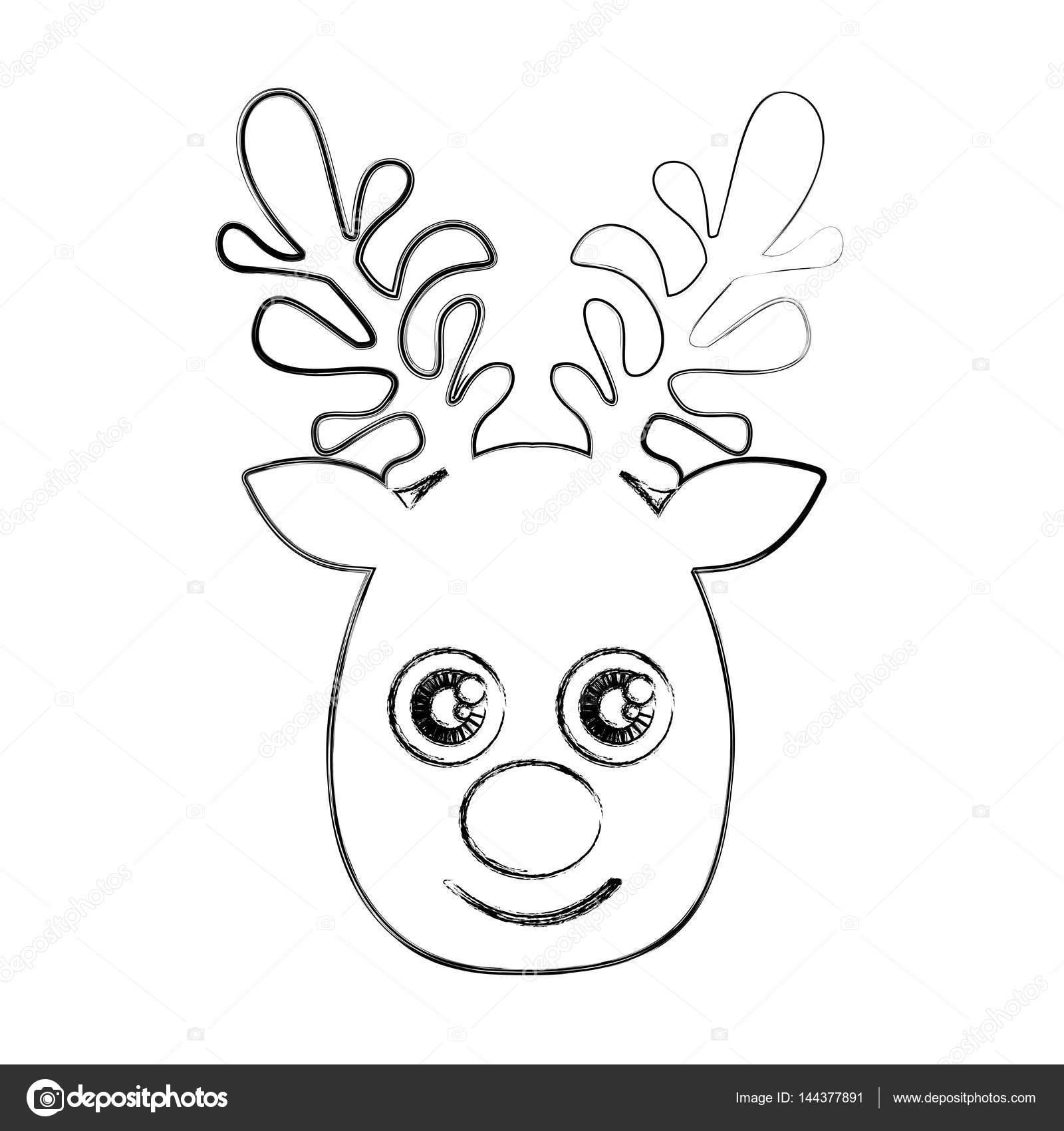 animal de silueta borrosa cara lindo Reno — Vector de stock ...