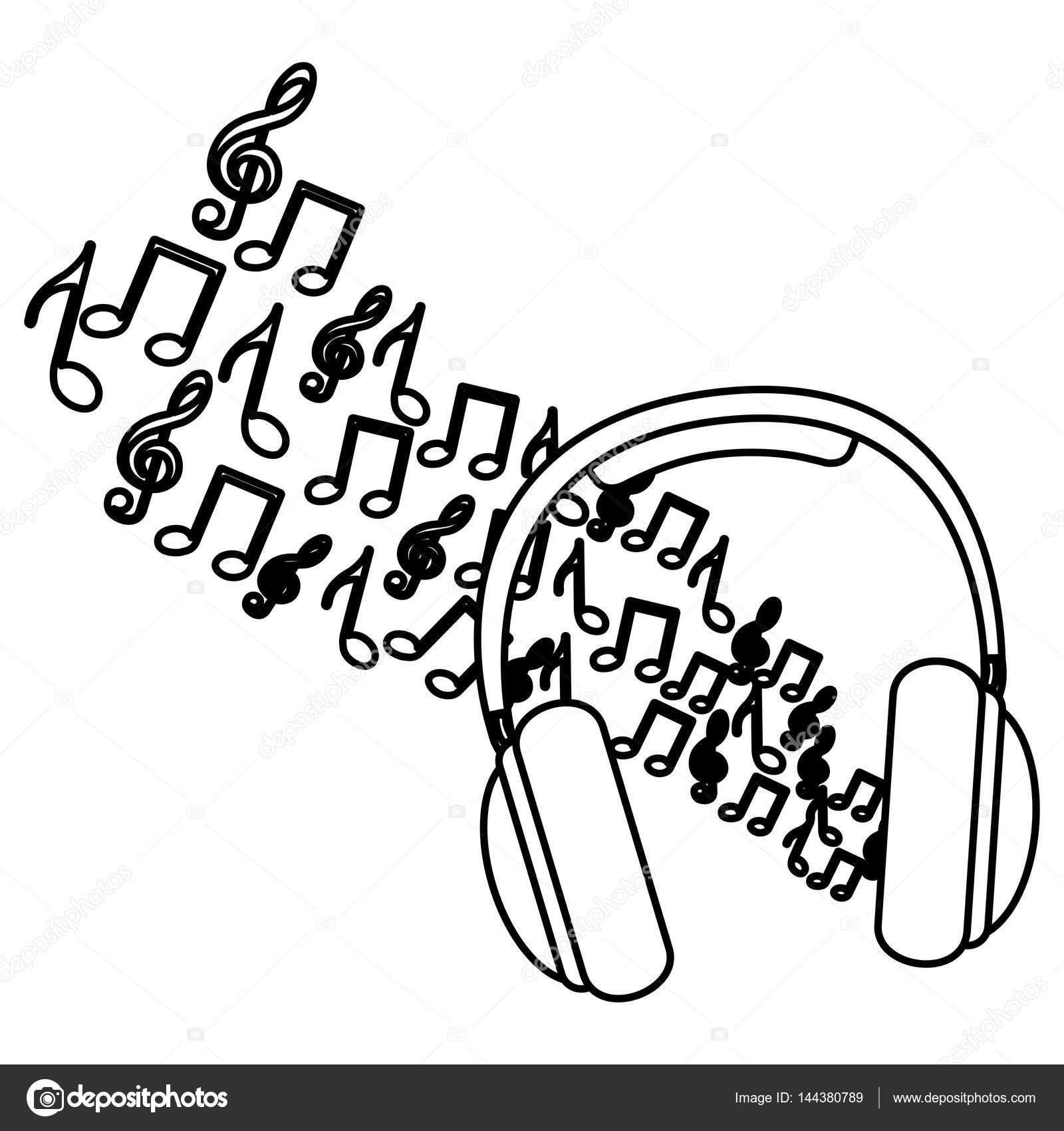 Dibujos Auriculares Y Notas Musicales Auriculares De Silueta Con