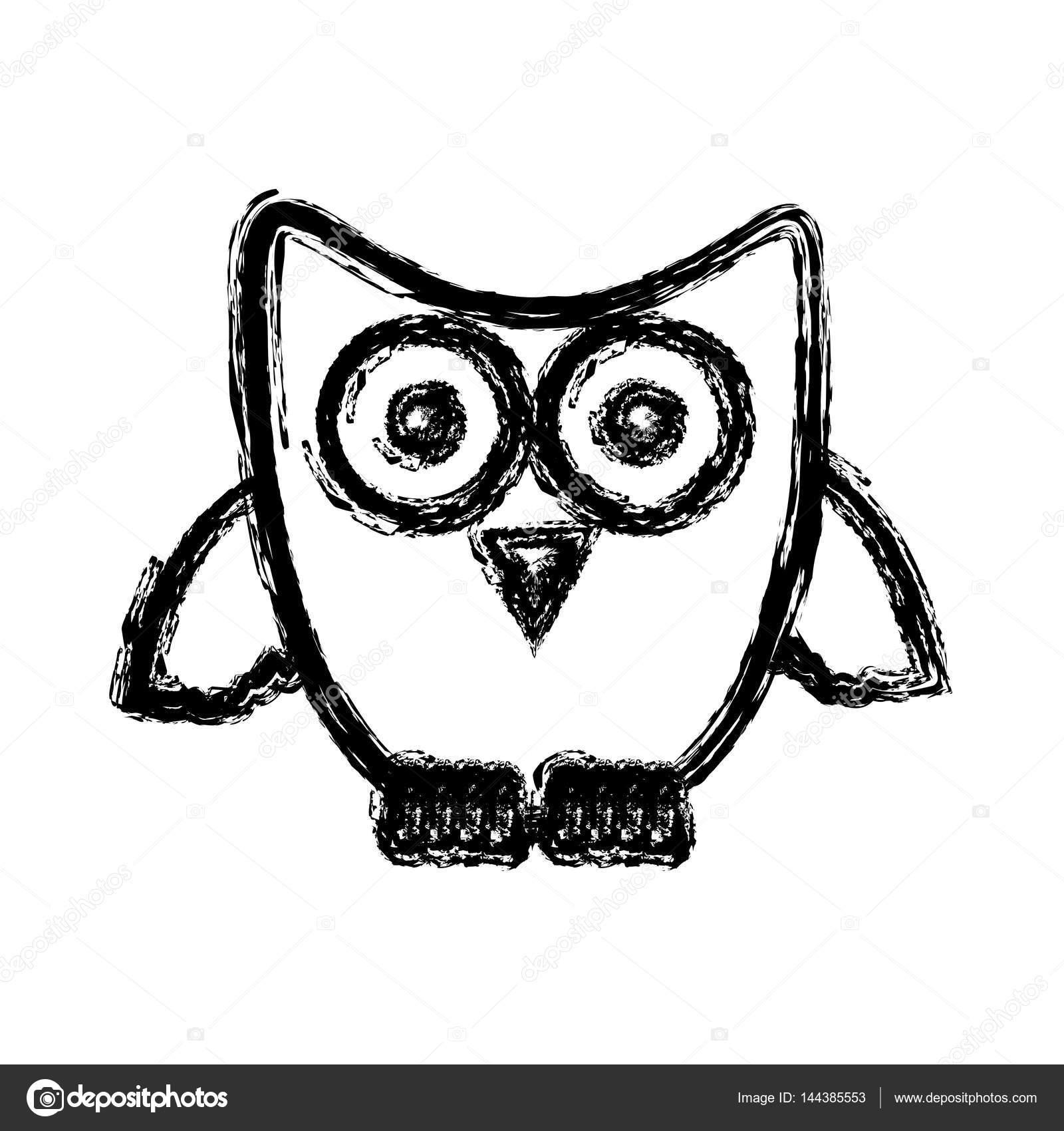 Chouette Dessin Stylisé icône de chouette stylisée de silhouette — image vectorielle