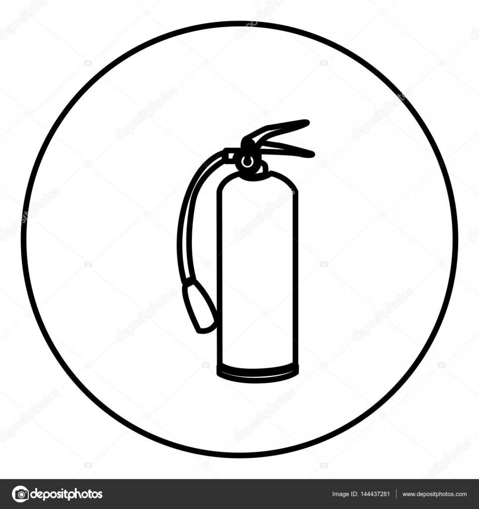marco circular contorno monocromo con extintor — Archivo Imágenes ...