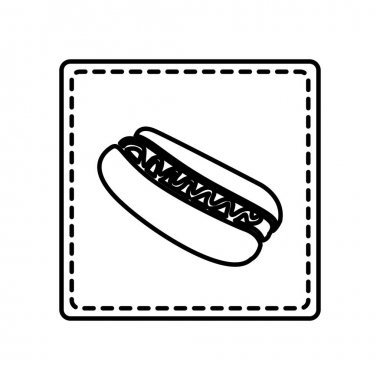 monochrome contour square and dotted line with hot dog with sauce