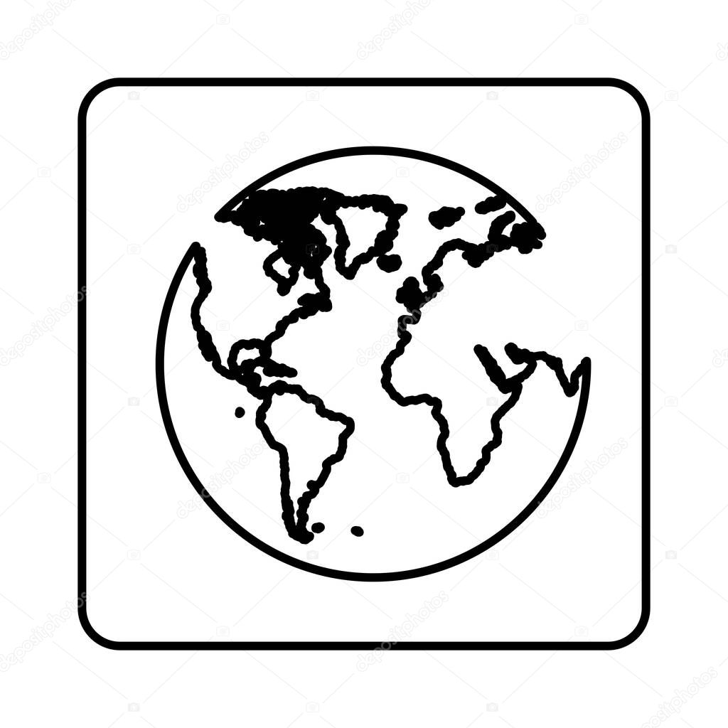 monochrome contour square with map of the world