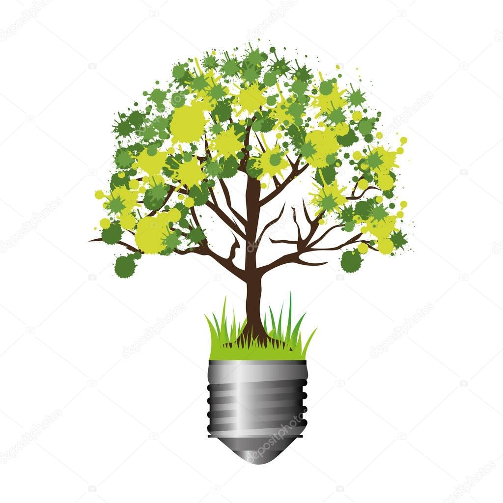 colorful silhouette of light bulb base with leafy tree