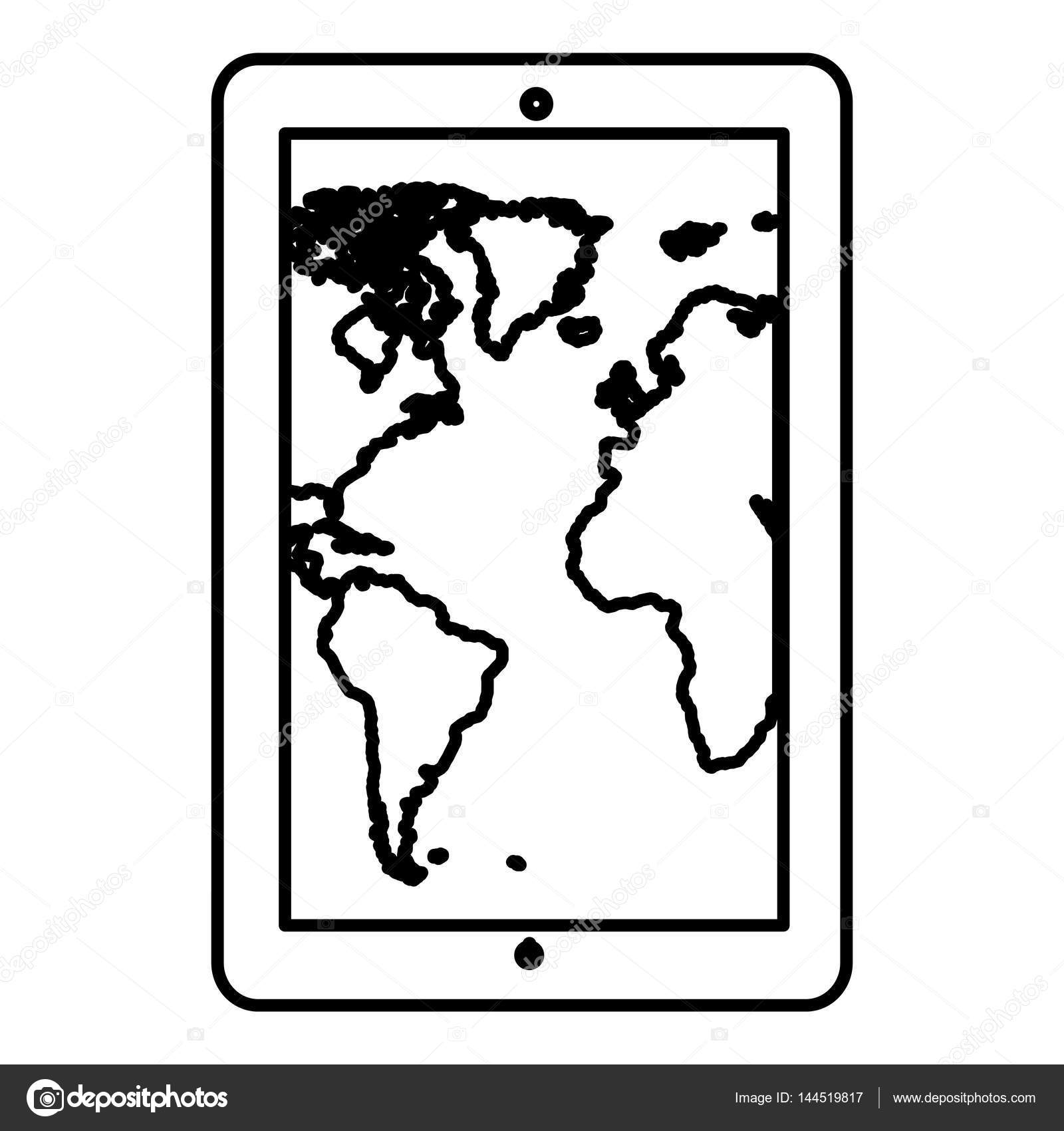 Monochrome contour tablet in vertical position and world map monochrome contour tablet in vertical position and world map wallpaper vector illustration vector by grgroupstock gumiabroncs Gallery