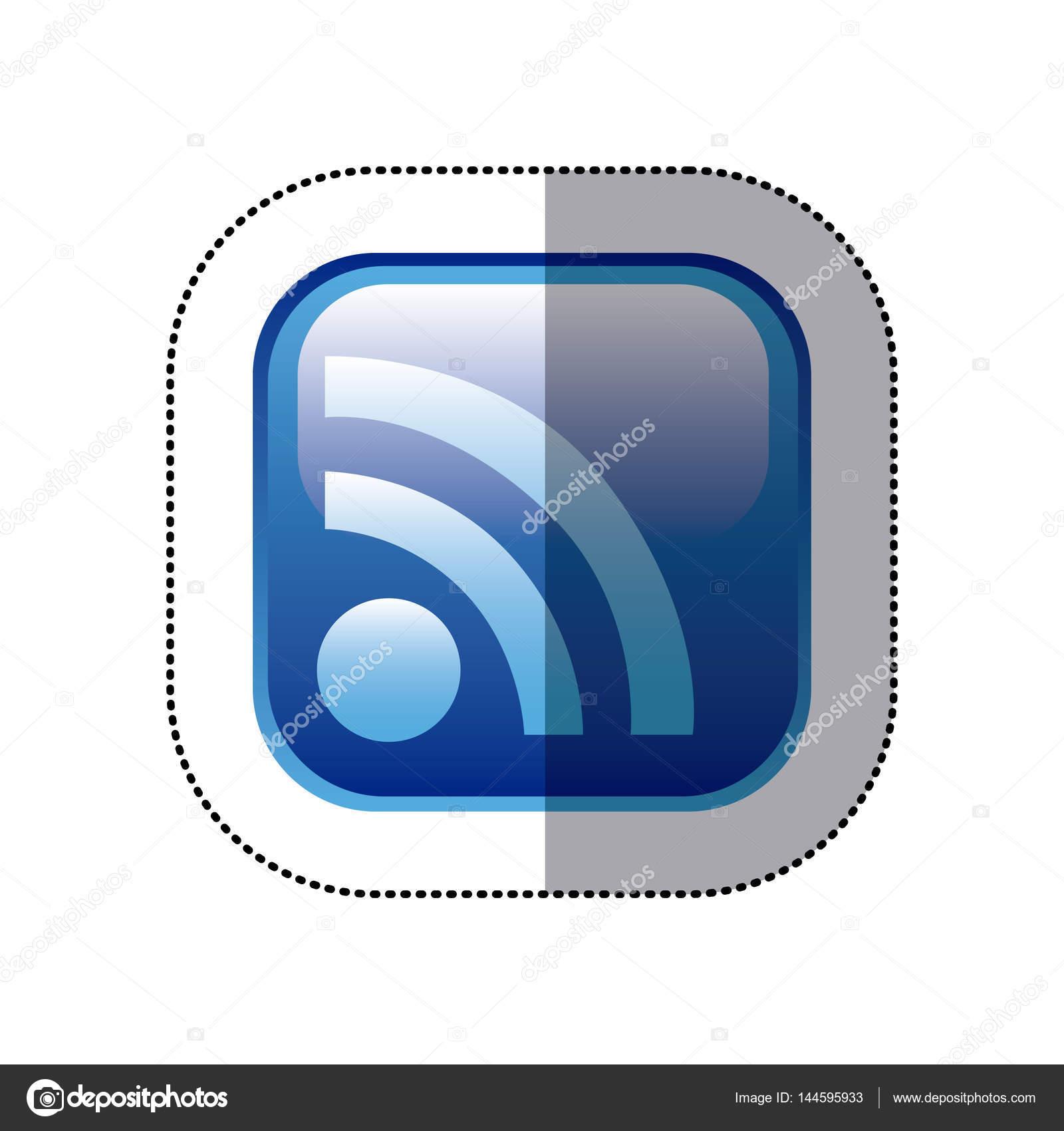 marco cuadrado de etiqueta azul con el icono de wifi — Archivo ...