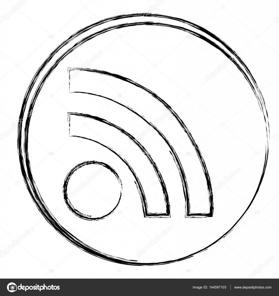 marco circular borrosa silueta con el icono de wifi — Vector de ...