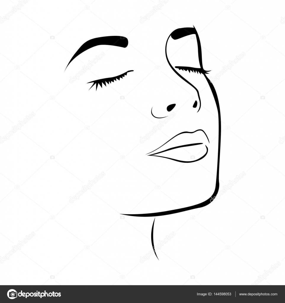 Sketch Female Face Silhouette With Eyes Closed Stock Vector