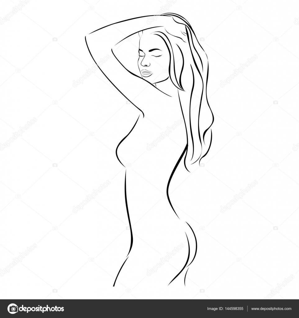 lateral Vista femenina sensual estilizada medio contorno corporal ...