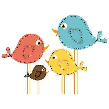colorful cute cartoon birds set
