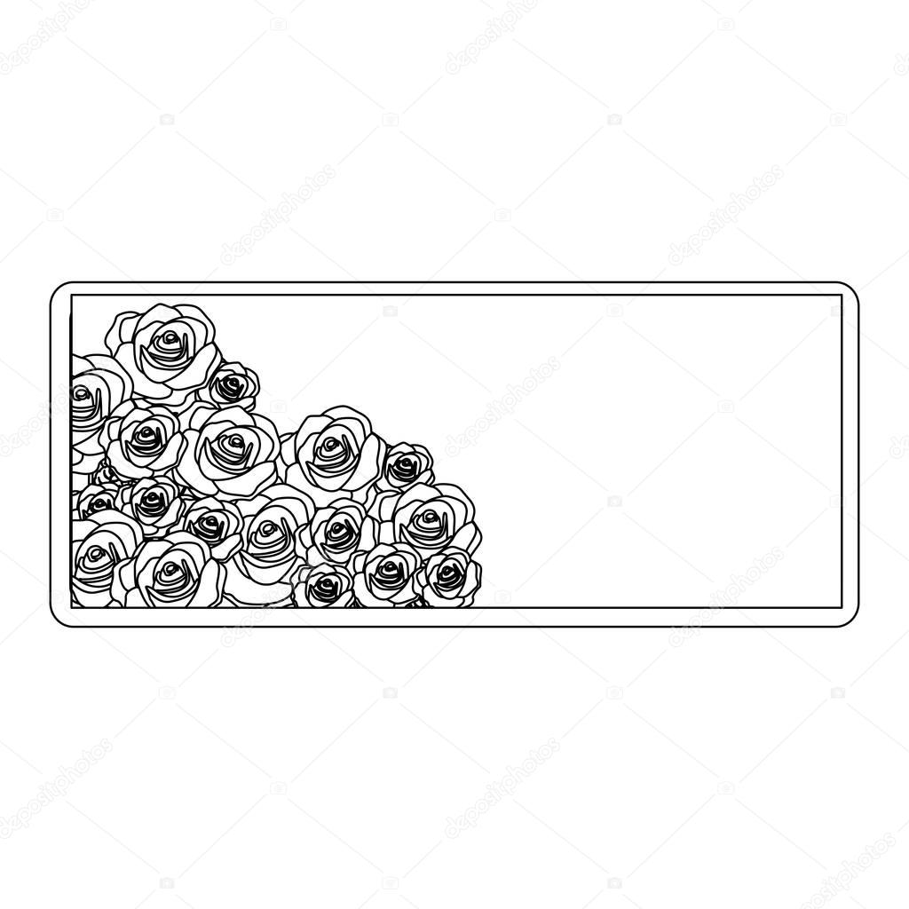 silhouette rectangular frame with bud roses floral design