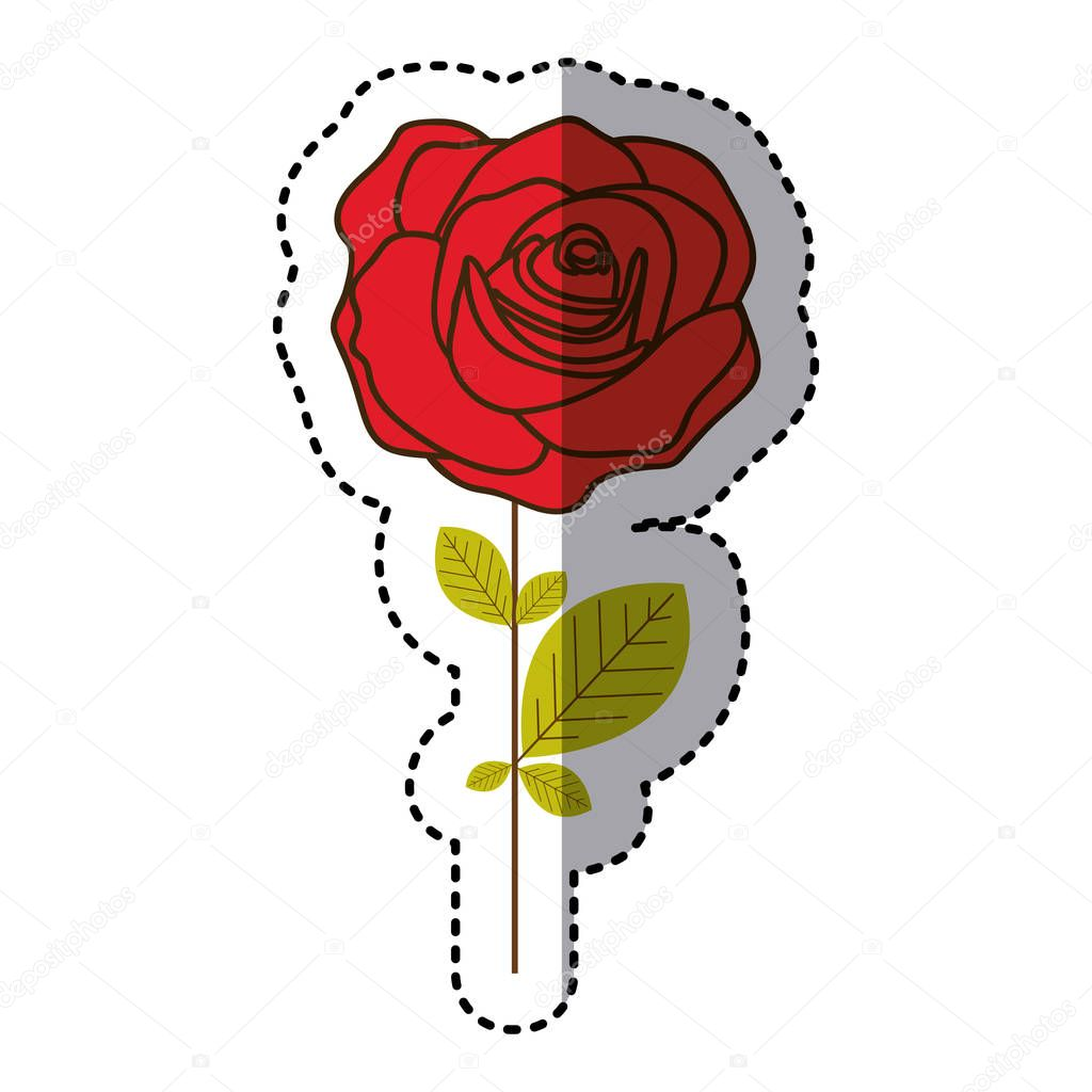 red rose with oval petals and leaves icon