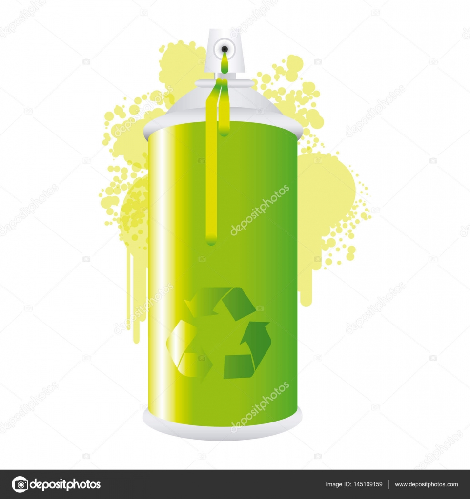 Eco Aerozolu Spray Metalu Z Dymu Zielonej Farby Grafika Wektorowa