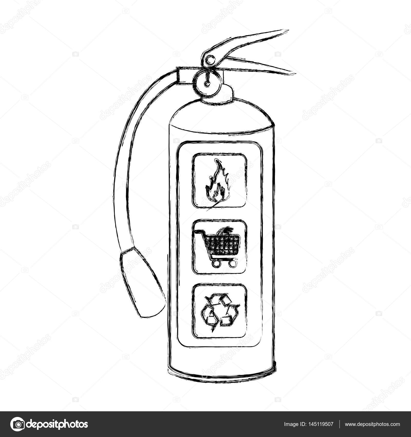 Blurred Sketch Silhouette Fire Extinguisher Icon Stock