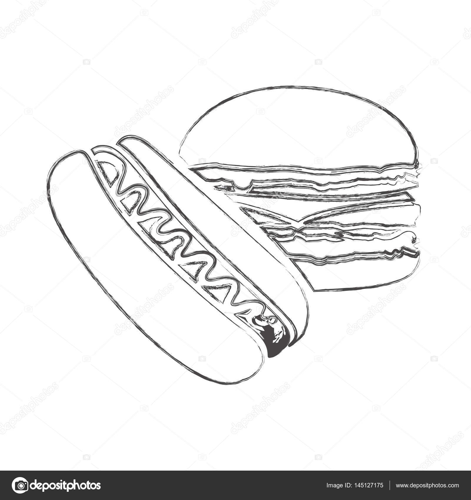 Sketch Of Monochrome Blurred Contour Of Burger And Hot Dog With