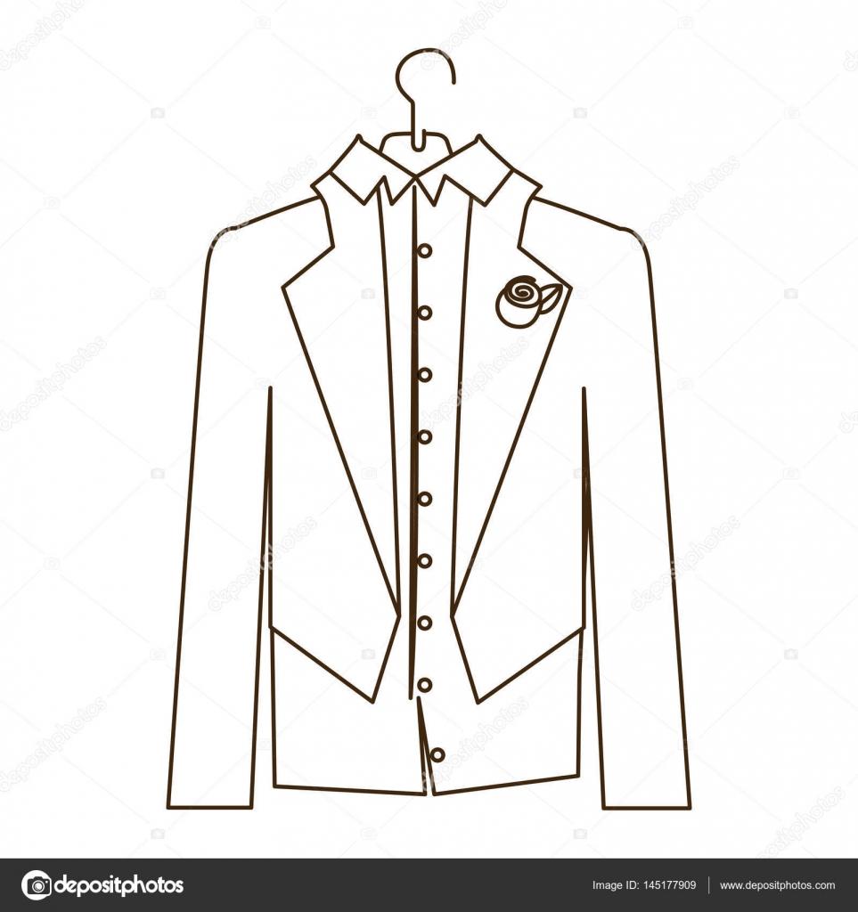 Esquisse silhouette dessin anim costume jeunes mari s - Dessin costume ...