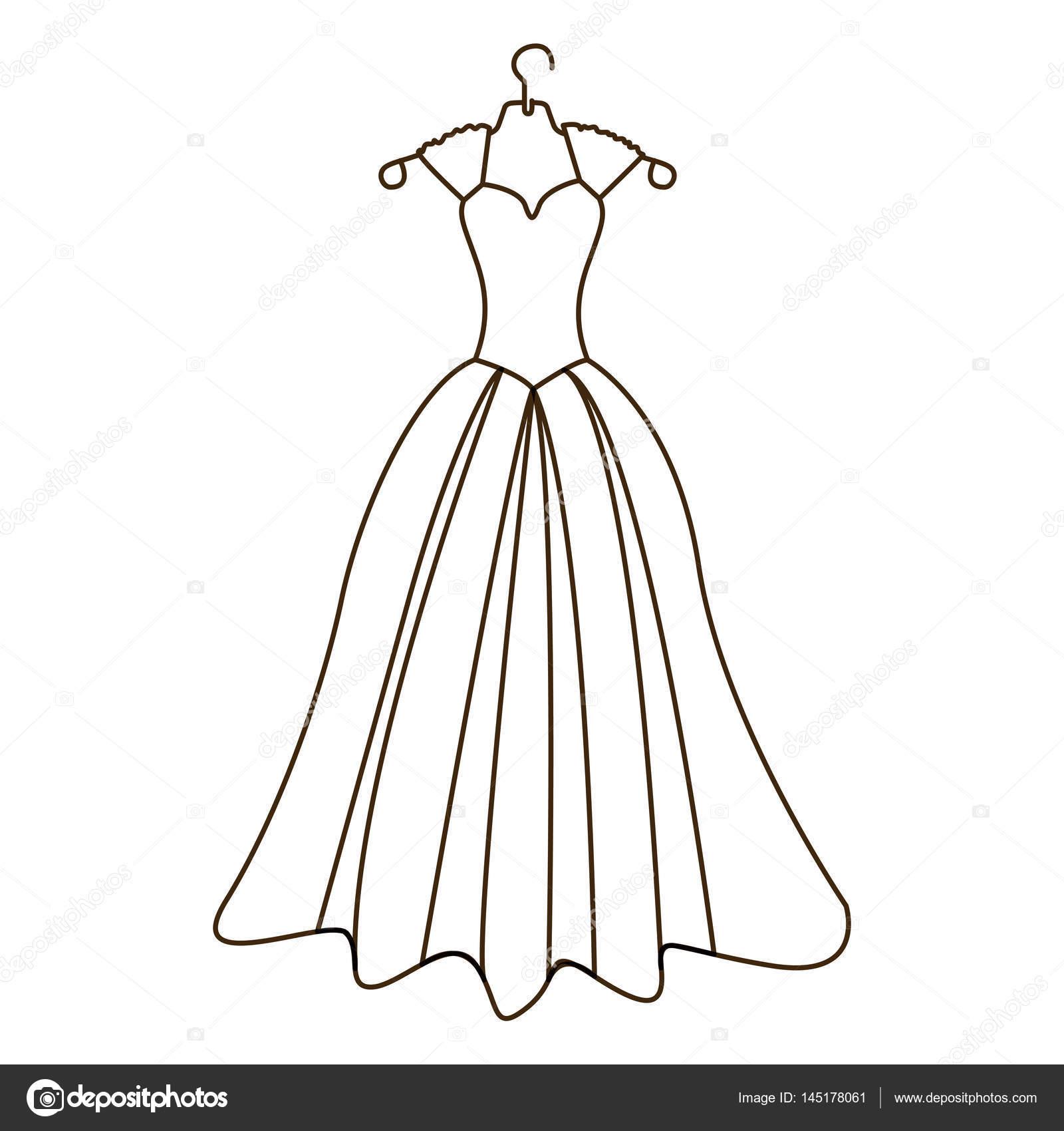 Skizze Silhouette Kostüm Brautkleid Stockvektor