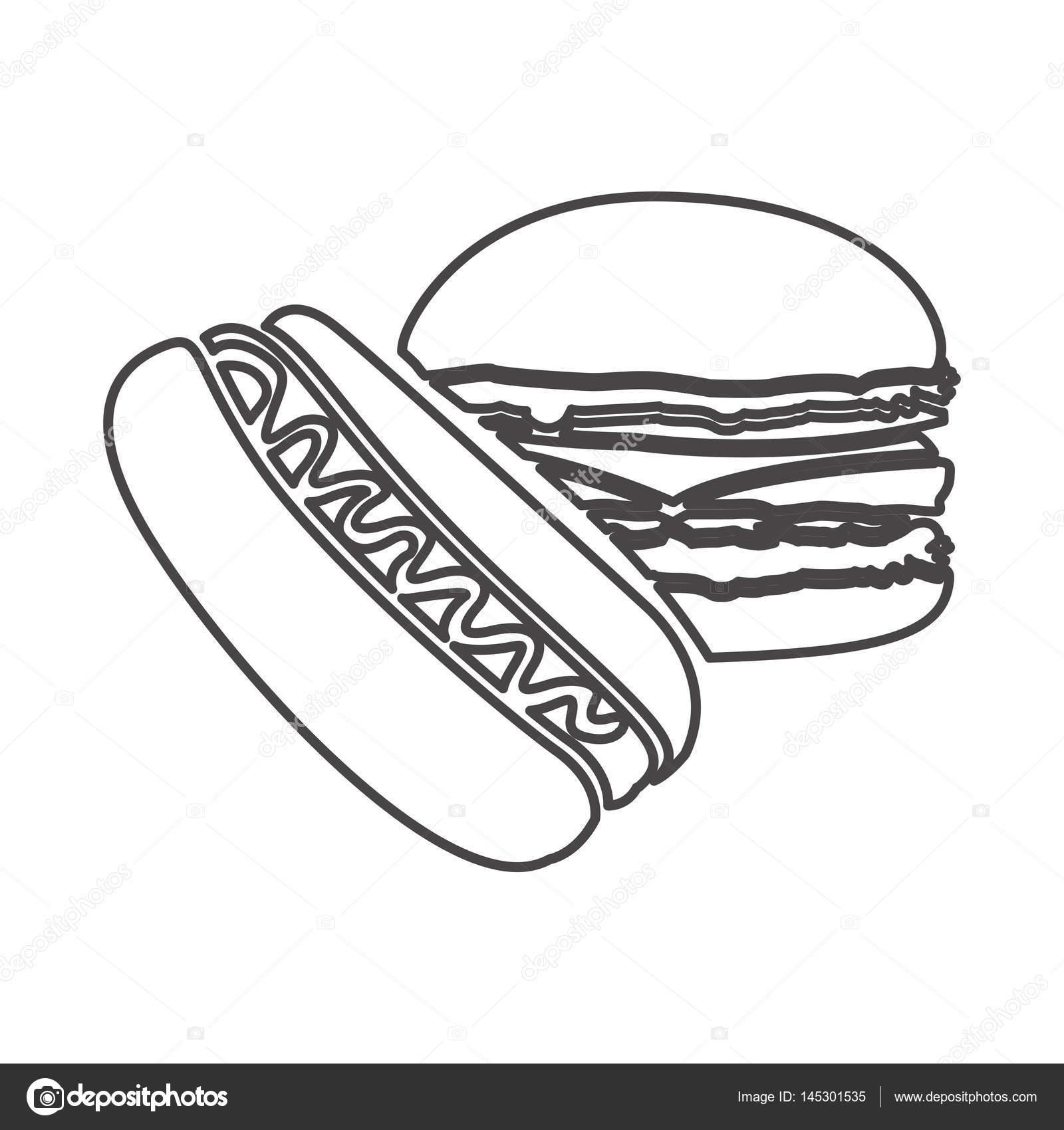 Figura icono de hamburguesa y perro caliente — Archivo Imágenes ...