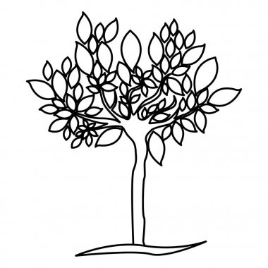 figure tree with many leaves icon