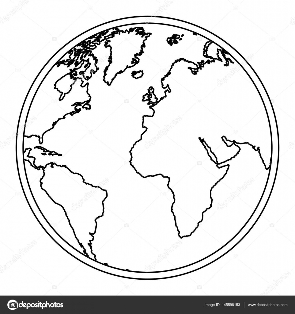 Silhouette earth world map with continents icon stock vector silhouette earth world map with continents icon stock vector gumiabroncs Images