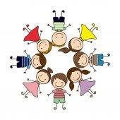 barevný kruhový tvar s skupiny kreslené děti