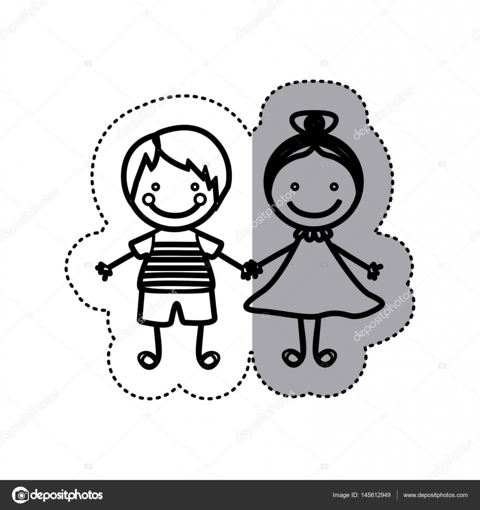 sticker sketch silhouette caricature couple boy with straigth hair ... for Couple Sticker Line  150ifm