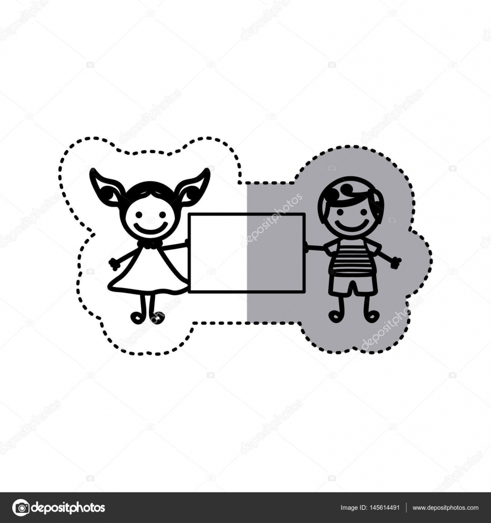 sticker sketch silhouette caricature couple boy with curly hair ... for Couple Sticker Line  289hul