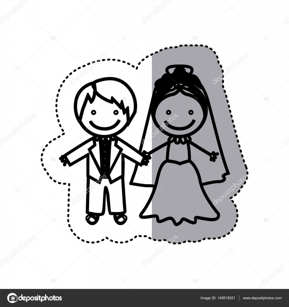 sticker sketch silhouette caricature married couple icon — Stock ... for Couple Sticker Line  545xkb
