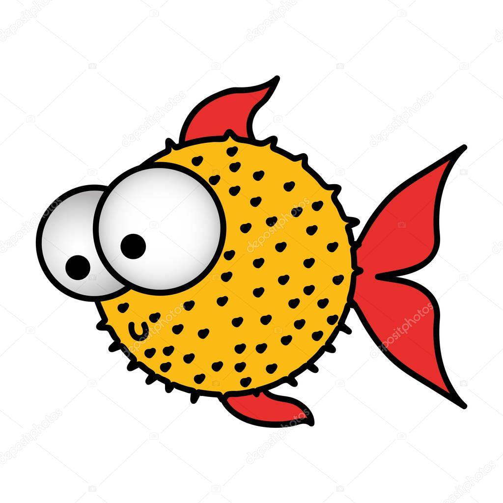 colorful silhouette blowfish aquatic animal