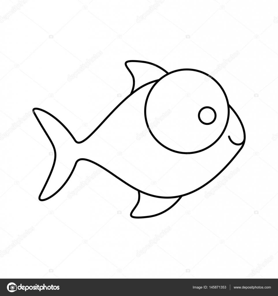 figura de pez con icono de ojos grandes — Archivo Imágenes ...