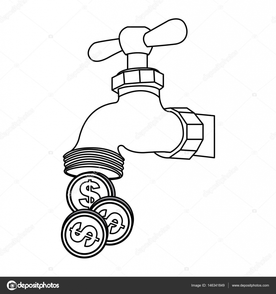 silhouette faucet with coins save water — Stock Vector ...