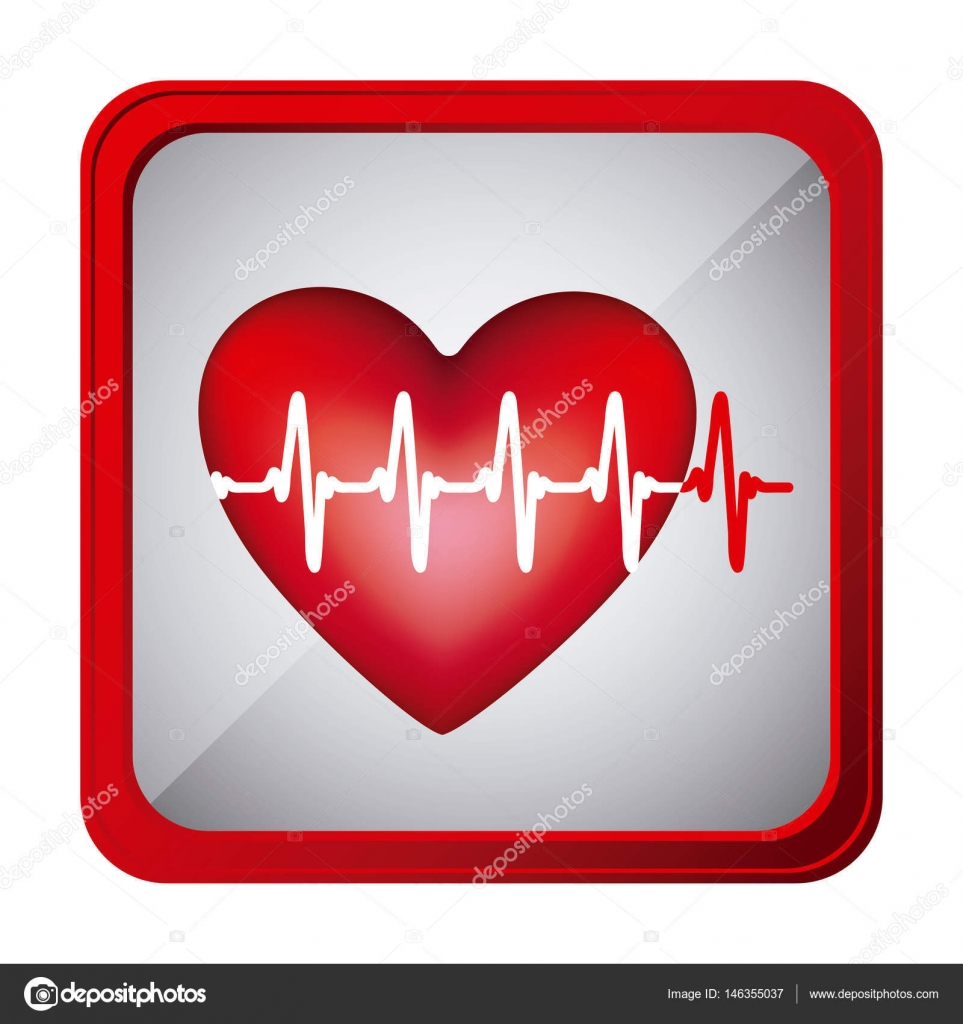 corazón, marco de la colores botón cuadrado con signo vital línea ...
