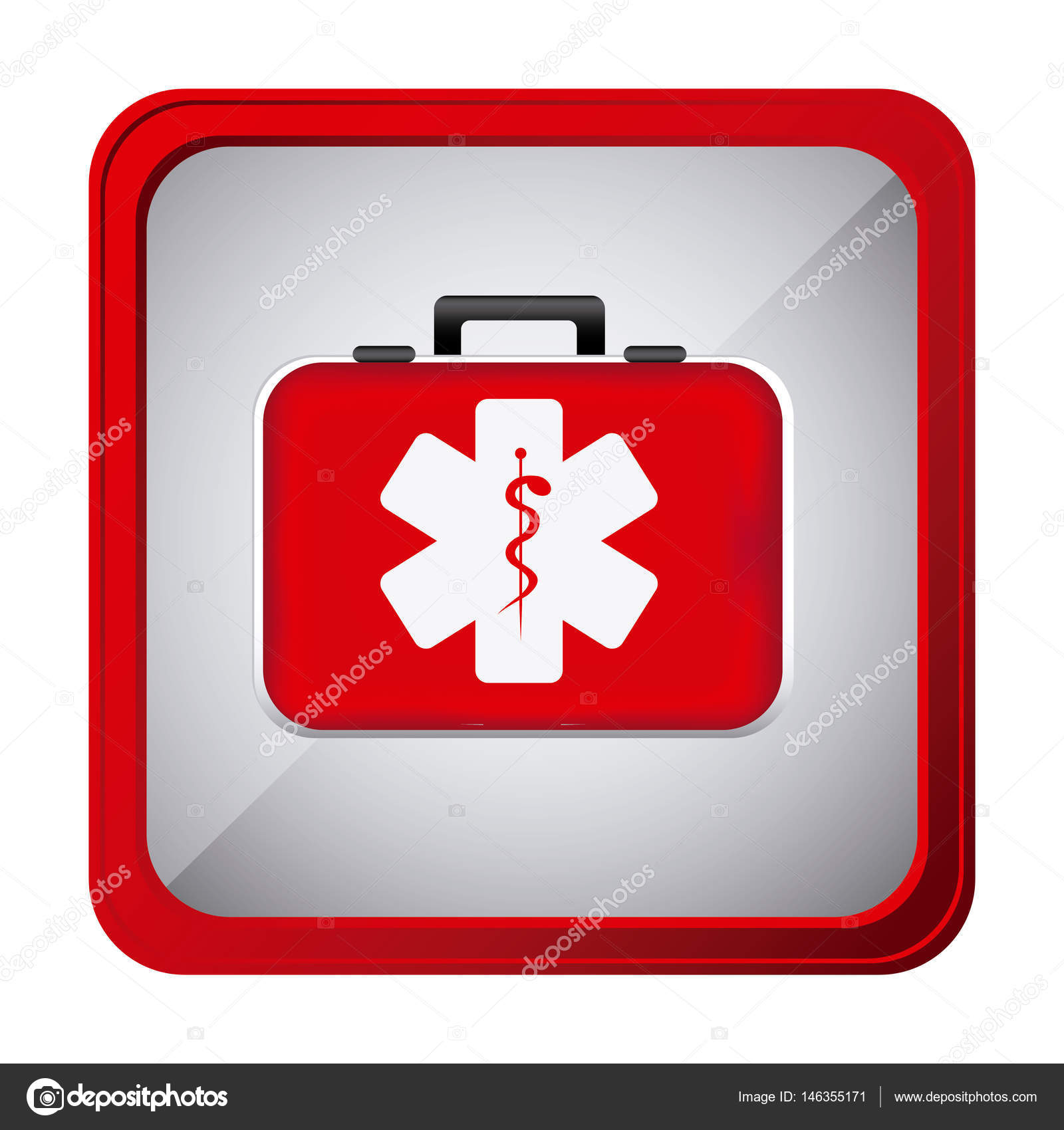 bunte Rahmen Quadrat-Taste mit erste-Hilfe-Kit mit Symbol Stern des ...
