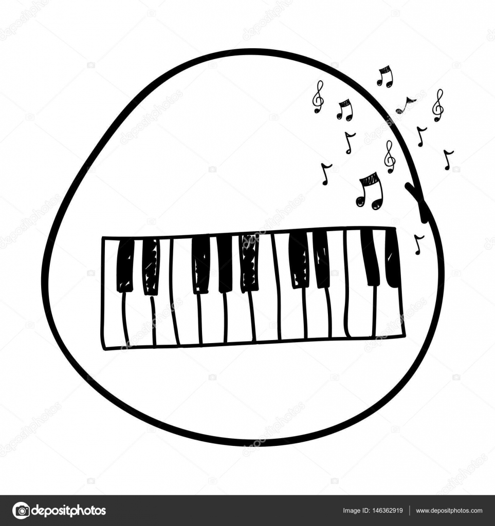 Monochrome Hand Drawing Of Piano Keyboard In Circle And Musical Notes Stock Vector C Grgroupstock 146362919