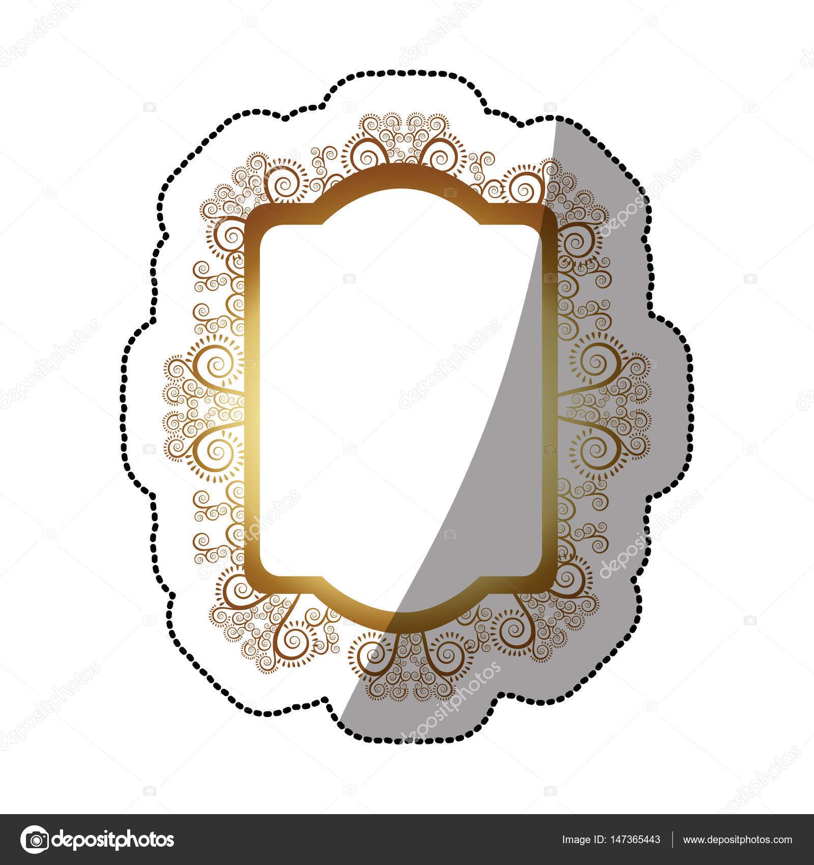cadre baroque h raldique d autocollant dor rectangle ovale image vectorielle grgroupstock. Black Bedroom Furniture Sets. Home Design Ideas